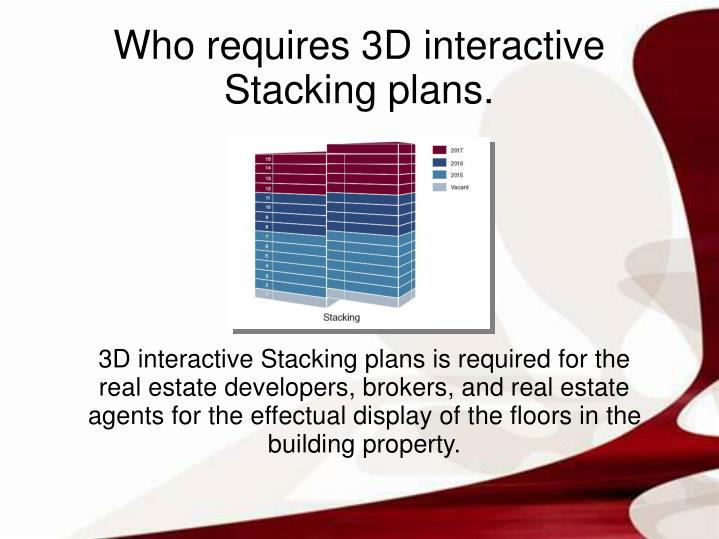 3D interactive Stacking plans is required for the real estate developers, brokers, and real estate agents for the effectual display of the floors in the building property.
