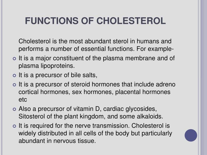 FUNCTIONS OF CHOLESTEROL