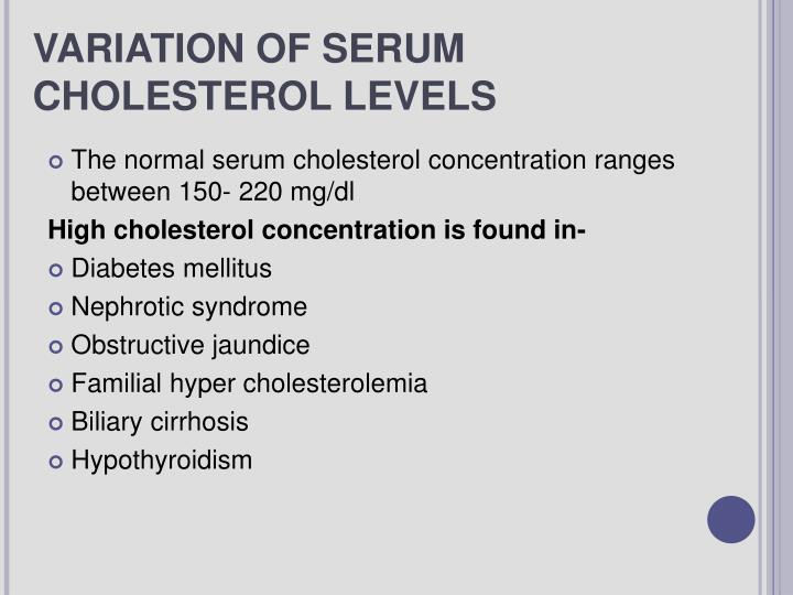 VARIATION OF SERUM CHOLESTEROL LEVELS