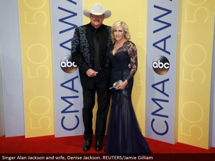 Singer Alan Jackson and spouse, Denise Jackson. REUTERS/Jamie Gilliam