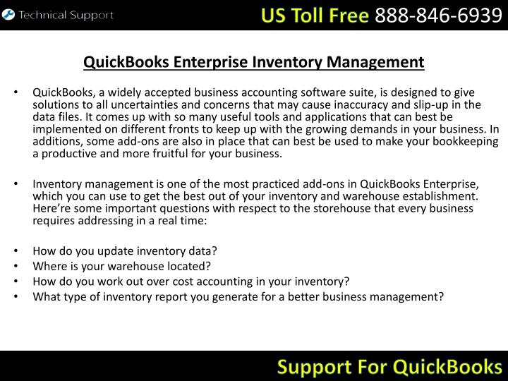 Quickbooks enterprise inventory management
