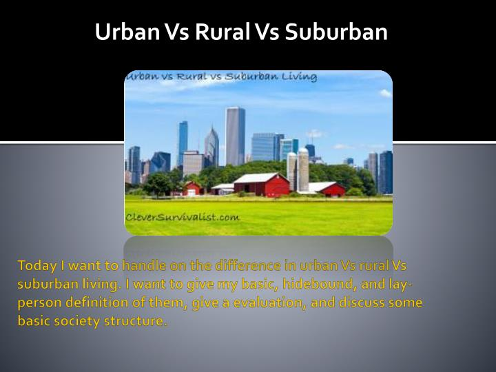 Today I want to handle on the difference in urban Vs rural Vs suburban living. I want to give my bas...