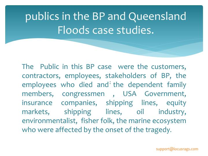 Publics in the bp and queensland floods case studies