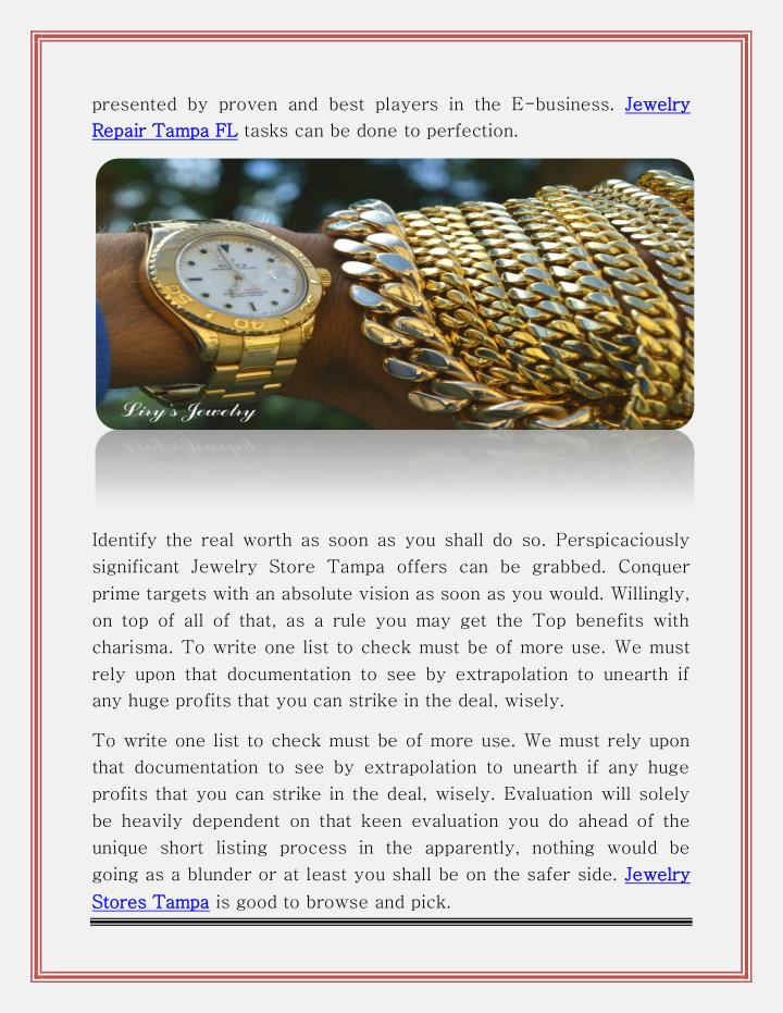 presented by proven and best players in the E-business. Jewelry