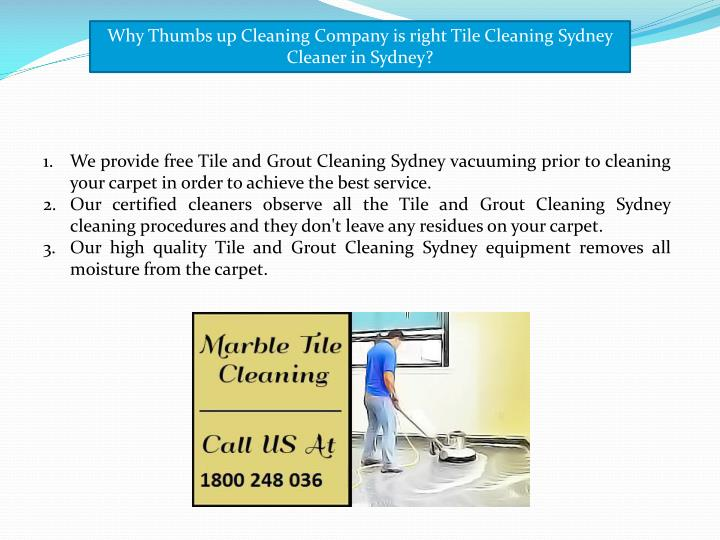Why Thumbs up Cleaning Company is right Tile Cleaning Sydney Cleaner in Sydney?