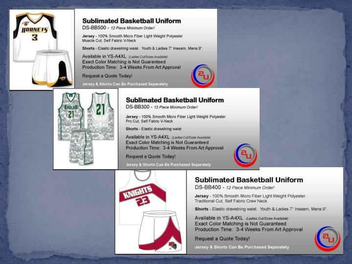 Basketball sublimated uniforms