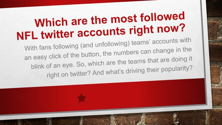 Which are the most followed NFL twitter accounts right now?