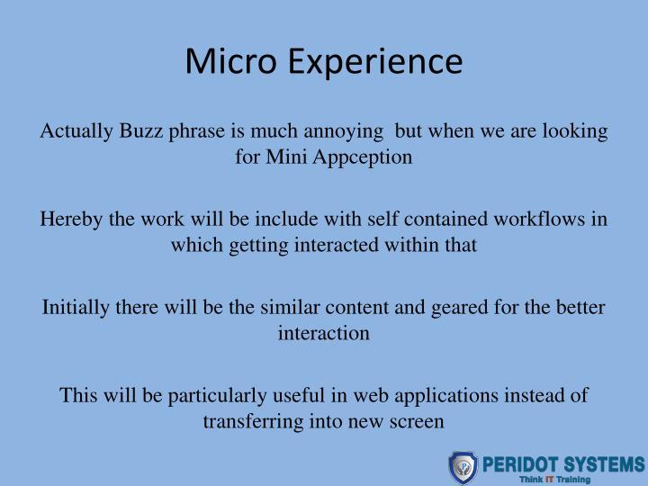 Micro Experience