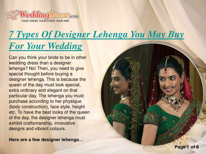7 Types Of Designer Lehenga You May Buy For Your Wedding