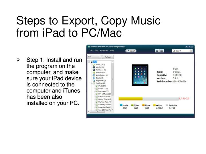 Steps to Export, Copy Music from iPad to PC/Mac