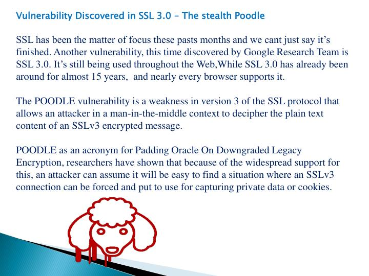 Vulnerability Discovered in SSL 3.0 – The stealth Poodle