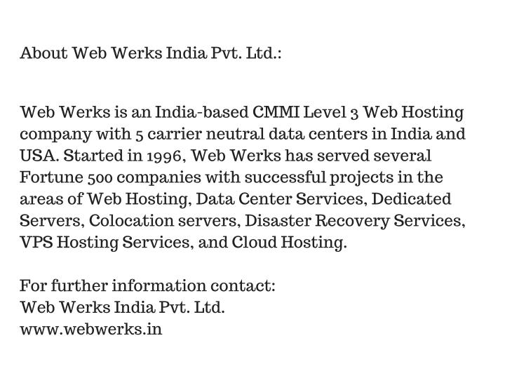 About Web Werks India Pvt. Ltd.: