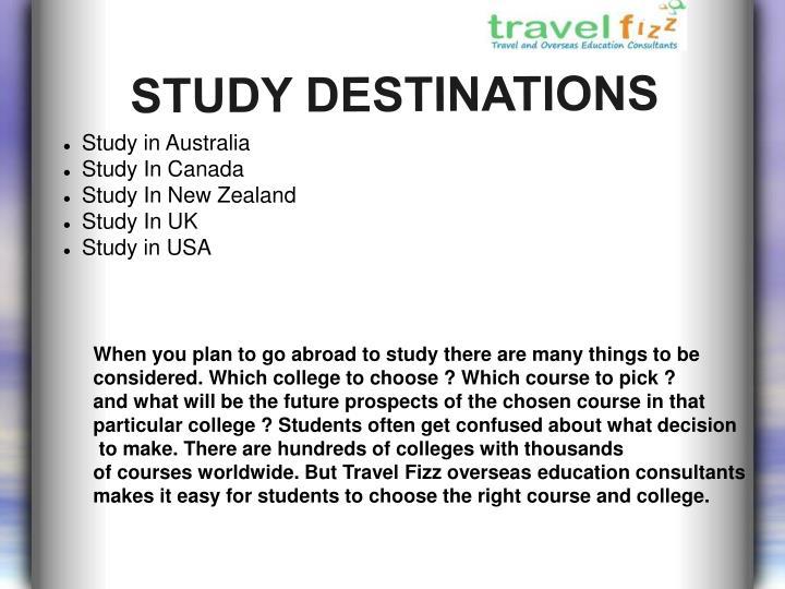 STUDY DESTINATIONS