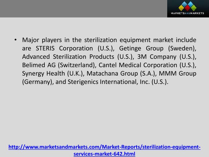 Major players in the sterilization equipment market include are STERIS Corporation (U.S.),