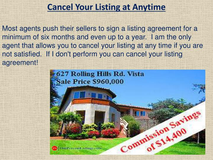 Cancel Your Listing at