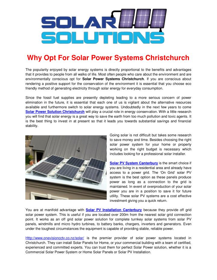 Why Opt For Solar Power Systems Christchurch