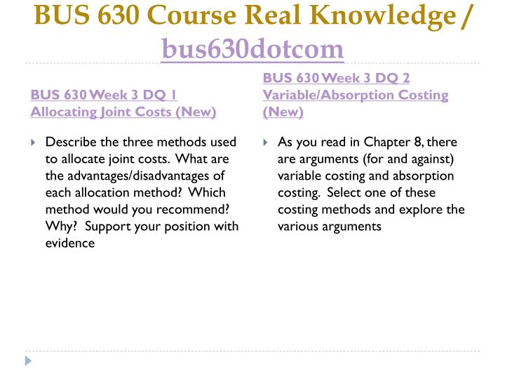 BUS 630 Course Real Knowledge /