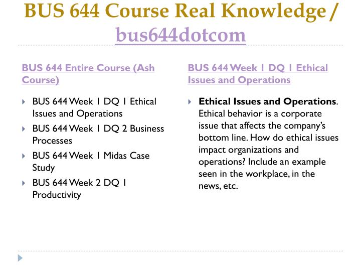 Bus 644 course real knowledge bus644dotcom1