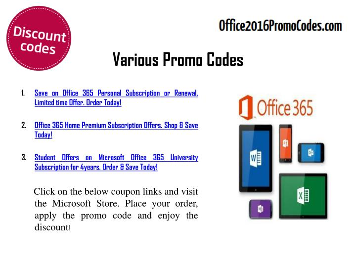 Various promo codes