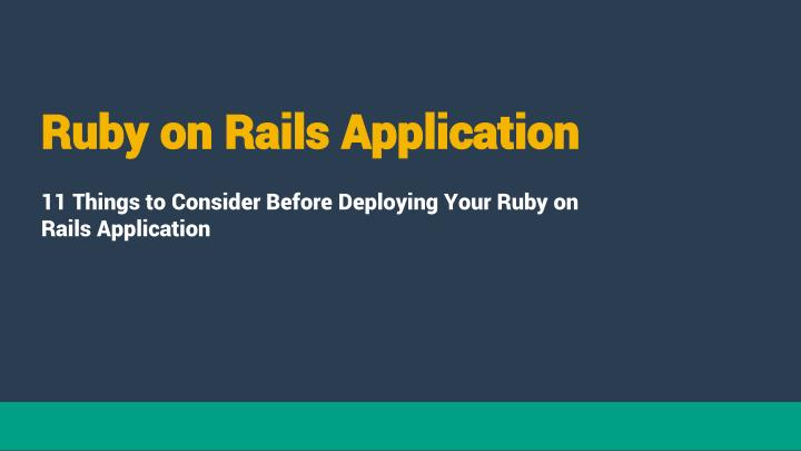 Ruby on rails application