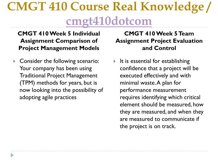 CMGT 410 Course Real Knowledge /