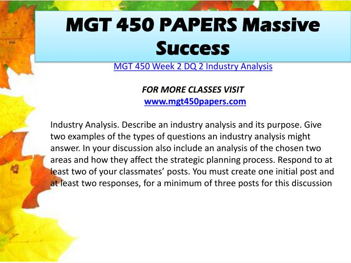 MGT 450 PAPERS Massive Success