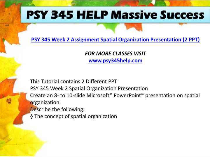 PSY 345 HELP Massive Success