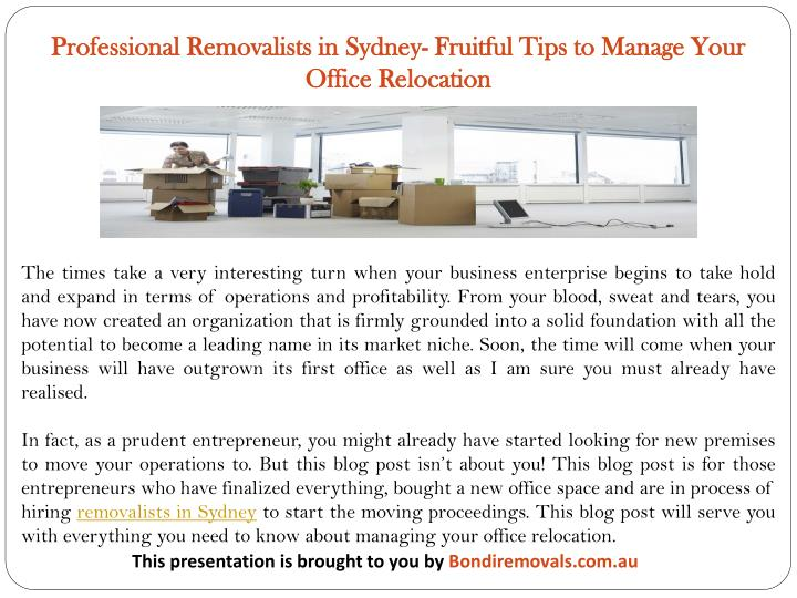 Professional Removalists in Sydney- Fruitful Tips to Manage Your Office Relocation