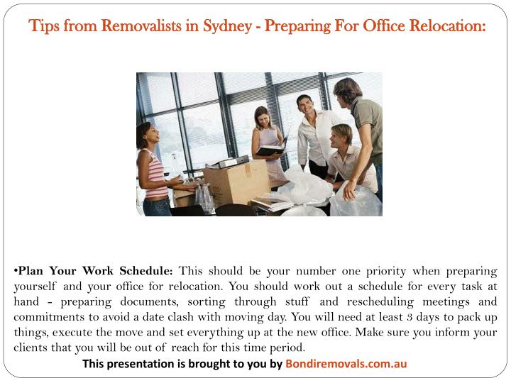Tips from Removalists in Sydney - Preparing For Office Relocation: