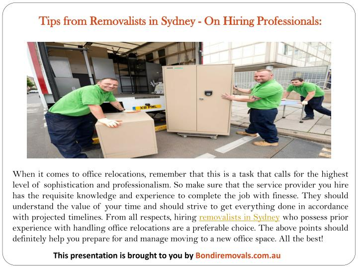Tips from Removalists in Sydney - On Hiring Professionals: