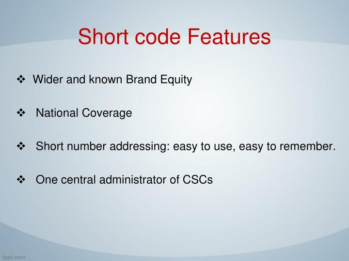 Short code Features
