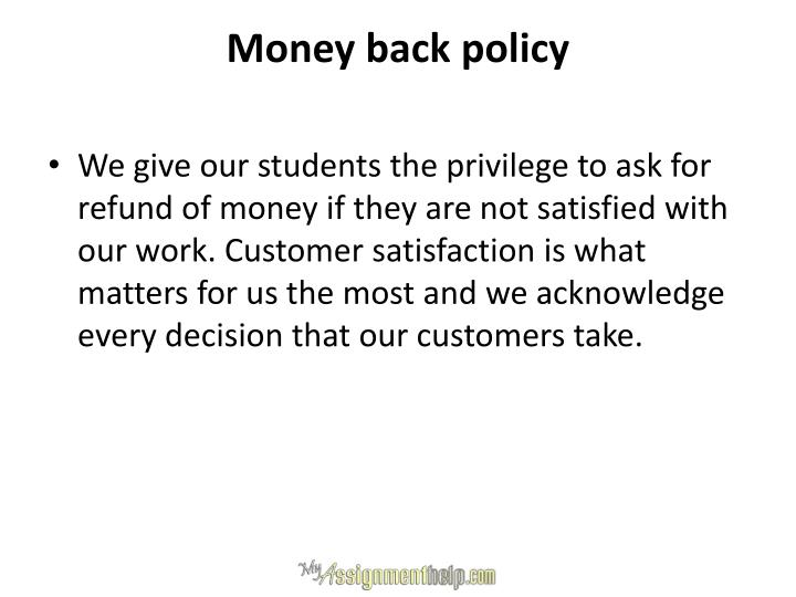 Money back policy