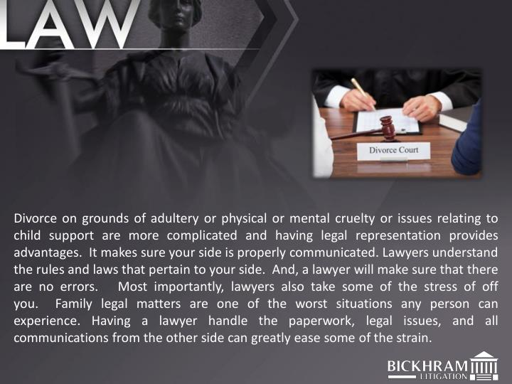 Divorce on grounds of adultery or physical or mental cruelty or issues relating to