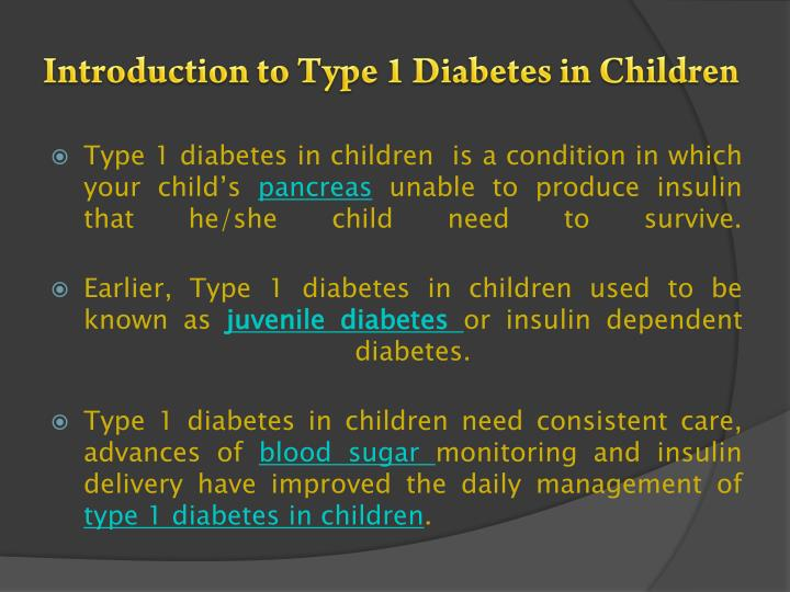 Introduction to type 1 diabetes in children