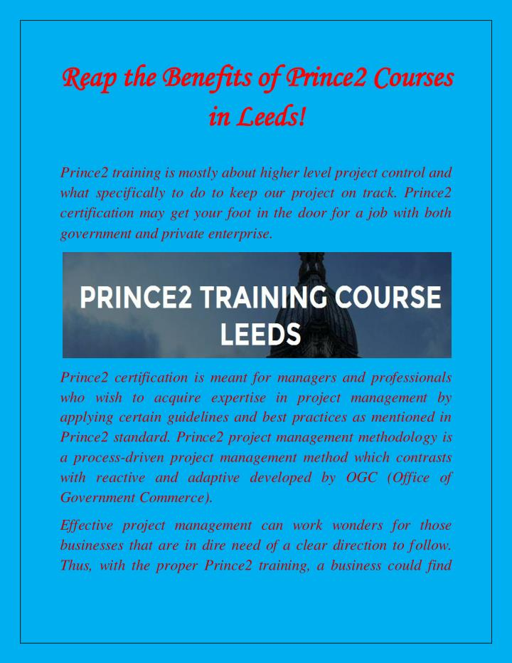Reap the Benefits of Prince2 Courses