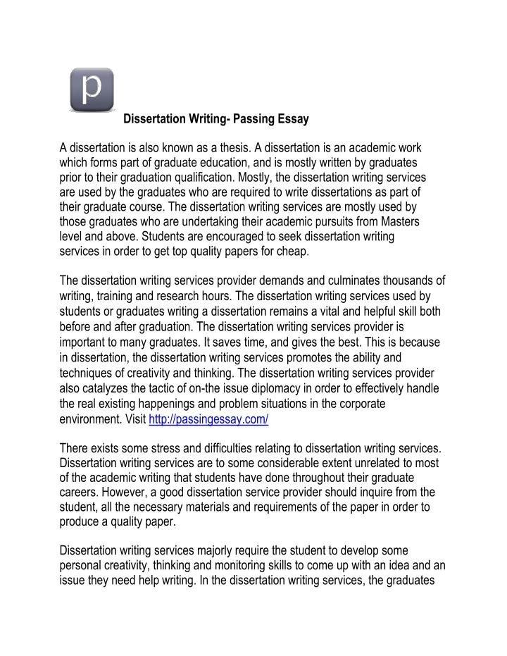 Dissertation Writing- Passing Essay