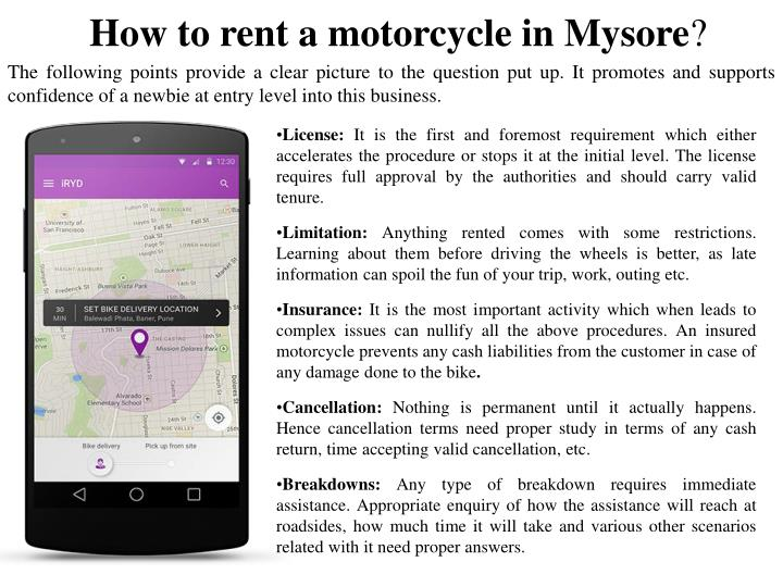 How to rent a motorcycle in Mysore