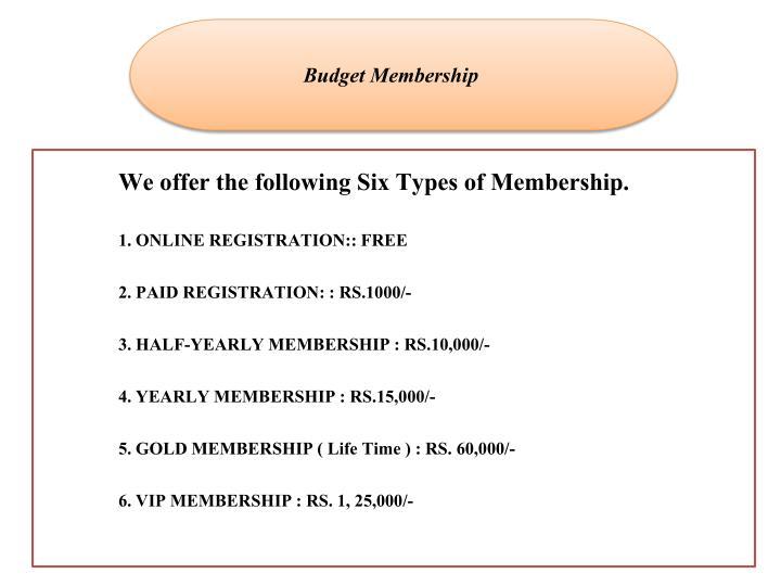 Budget Membership