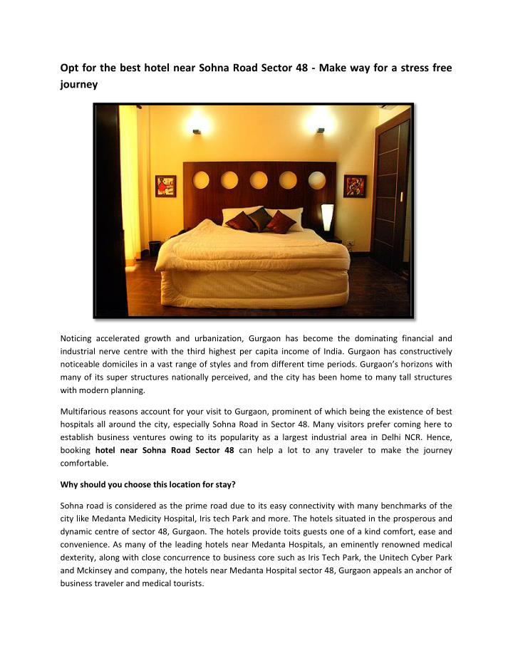 Opt for the best hotel near Sohna Road Sector 48 - Make way for a stress free