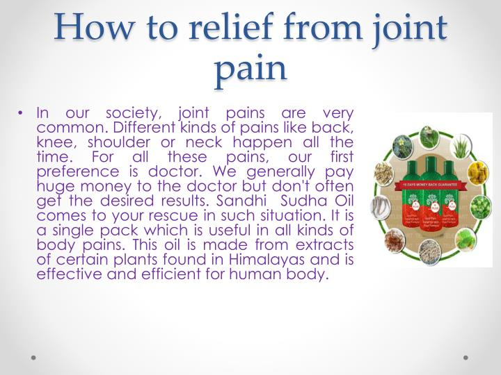How To Relieve Joint Pain