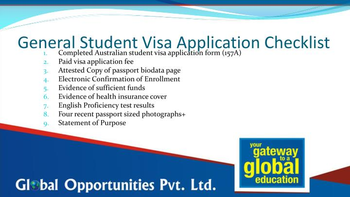 General Student Visa Application Checklist