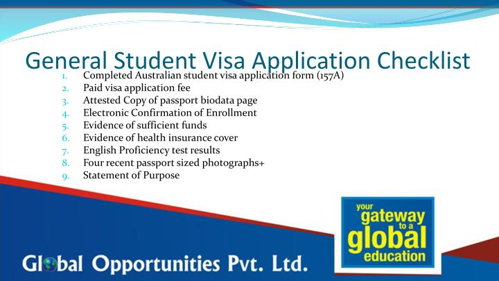 General Student Visa Application Checklist