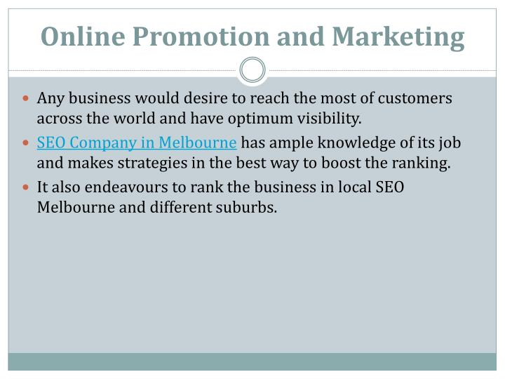 Online Promotion and Marketing