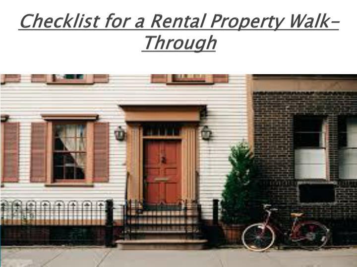 Checklist for a Rental Property Walk-Through