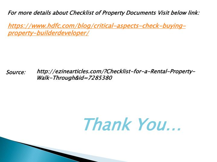For more details about Checklist of Property Documents Visit below link: