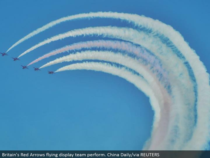 Britain's Red Arrows flying presentation group perform. China Daily/through REUTERS