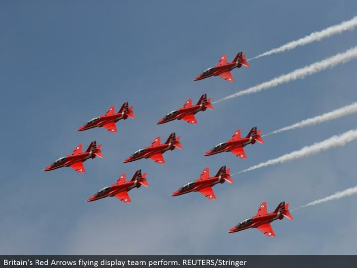 Britain's Red Arrows flying showcase group perform. REUTERS/Stringer