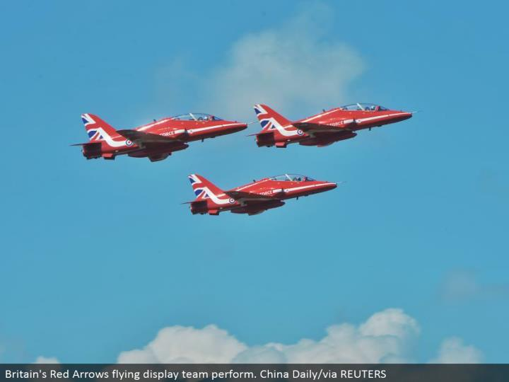 Britain's Red Arrows flying showcase group perform. China Daily/by means of REUTERS