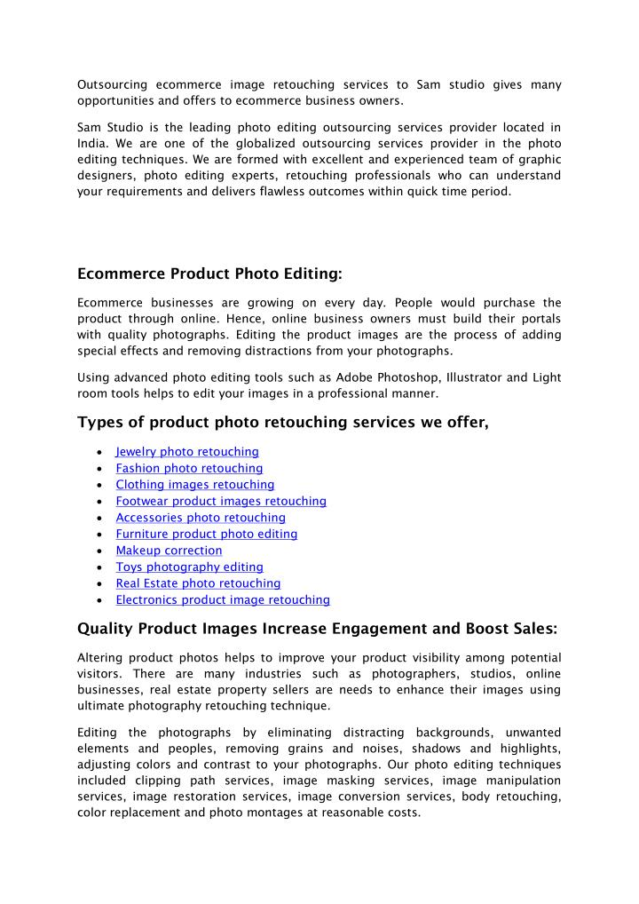 Outsourcing ecommerce image retouching services to Sam studio gives many