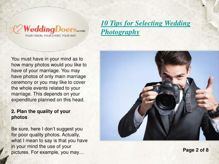 10 Tips for Selecting Wedding Photography